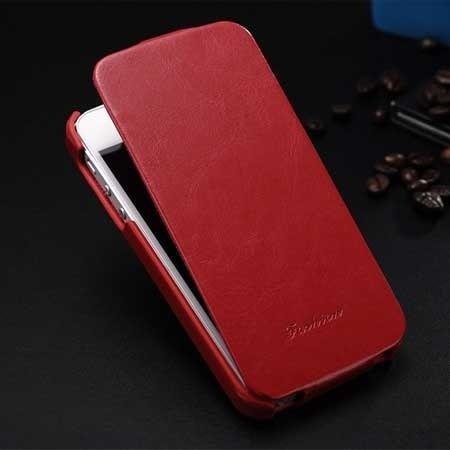 iPhone 6, 6s etui skórzane z klapką czerwone.