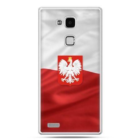 Etui na telefon Huawei Mate 7 patriotyczne - flaga Polski z godłem