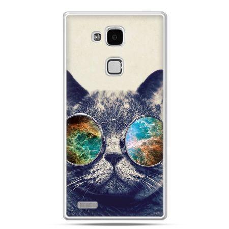 Etui na Huawei Mate 7 kot w tęczowych okularach