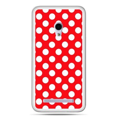 Zenfone 5 etui czerwona polka dot