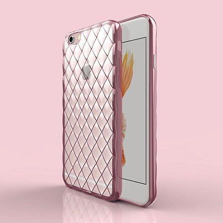 Luksusowe etui Diamonds iPhone 6 Plus silikonowe platynowane tpu różowe.