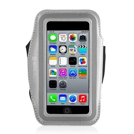 Stilgut iPhone 5 , 5s sportowe etui na ramię do biegania srebrne.