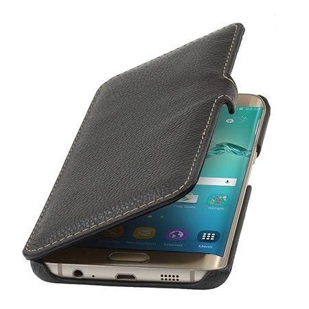 Skórzany futerał na Galaxy S6 Edge Stilgut BOOK z klapką czarny.