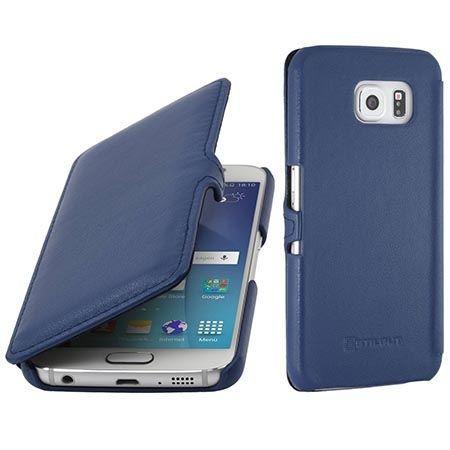 Skórzany futerał na Galaxy S6 Stilgut BOOK z klapką niebieski.