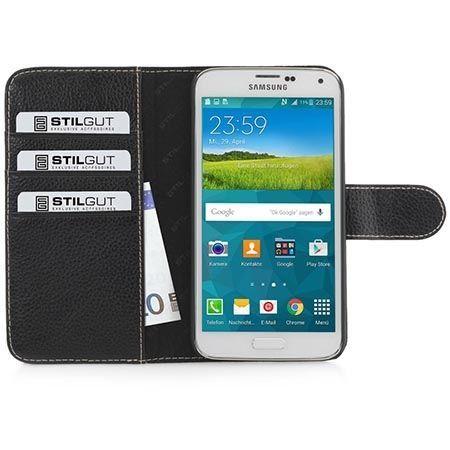 Galaxy S5 skórzany portfel Stilgut z klapką na karty kredytowe czarny.