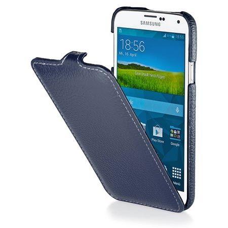 Pokrowiec na Galaxy S5mini Stilgut Ultraslim skóra niebieski.