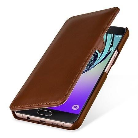 Skórzany futerał na Galaxy A7 (2016) Stilgut BOOK z klapką brązowy.