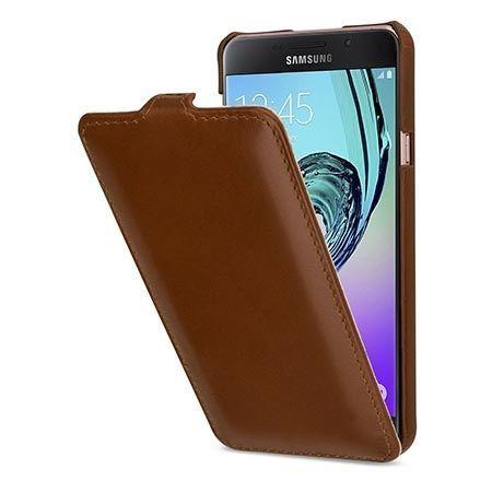 Pokrowiec na Galaxy A7 (2016) Stilgut Ultraslim z klapką skóra brązowy.