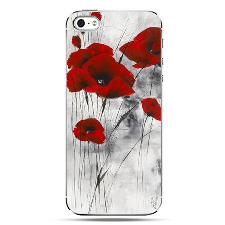 iPhone SE etui na telefon czerwone maki