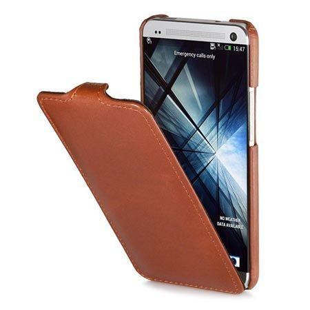 Pokrowiec na HTC One M7 Stilgut Ultraslim skóra z klapką brązowy.