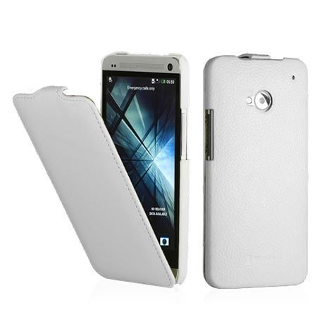 Pokrowiec na HTC One M7 Stilgut skóra Ultraslim z klapką biały.