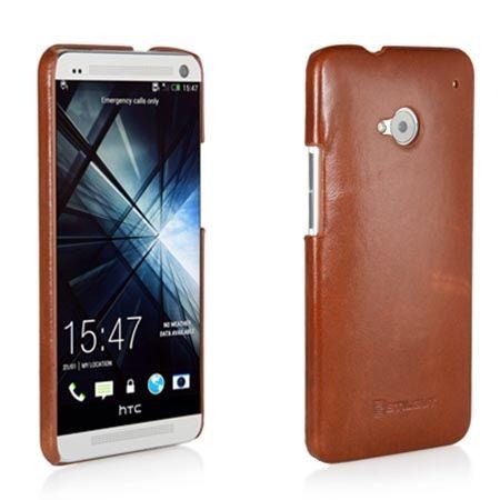 Plecki na HTC One M7 Stilgut skóra cover brązowe.