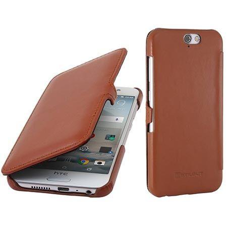 Skórzany futerał na HTC One A9 Stilgut BOOK z klapką brązowy.
