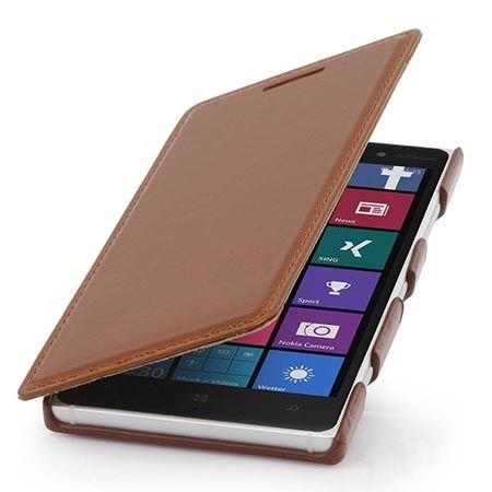 Skórzany pokrowiec na Nokia Lumia 830 Stilgut BOOK z klapką brązowy.