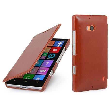 Skórzany pokrowiec na Nokia Lumia 930 Stilgut BOOK z klapką brązowy.