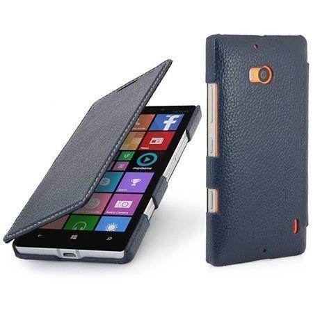Skórzany pokrowiec na Nokia Lumia 930 Stilgut BOOK z klapką niebieski.