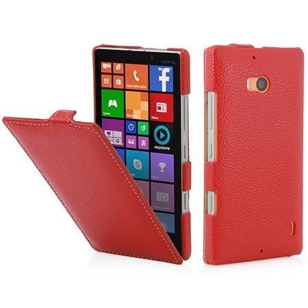 Pokrowiec na Nokia Lumia 930 Stilgut skóra Ultraslim z klapką czerwone.