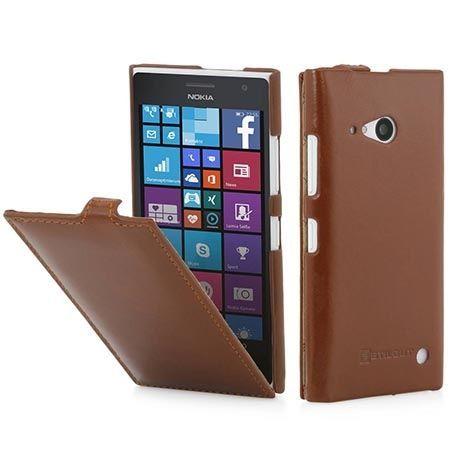Pokrowiec na Nokia Lumia 730 Stilgut skóra Ultraslim z klapką brązowe.