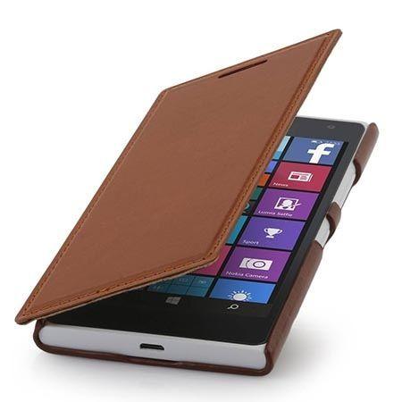 Skórzany pokrowiec na Nokia Lumia 730 Stilgut BOOK z klapką brązowe.