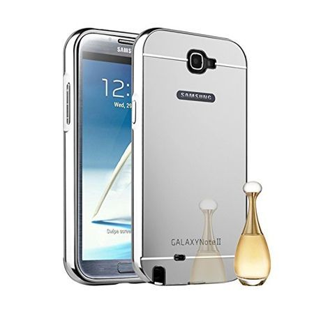 Mirror bumper case na Galaxy Note 2 - Srebrny