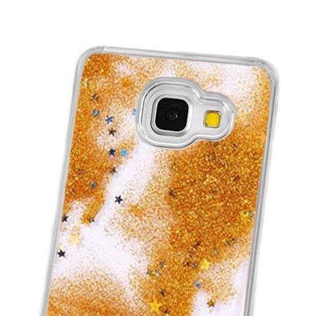 Galaxy A5 (2016) etui Stardust z ruchomym płynem w środku - złoty brokat.