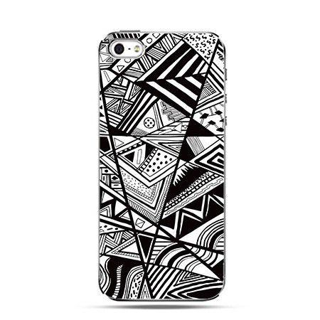 Etui abstract czarno-białe trójkąty iPhone 5 , 5s