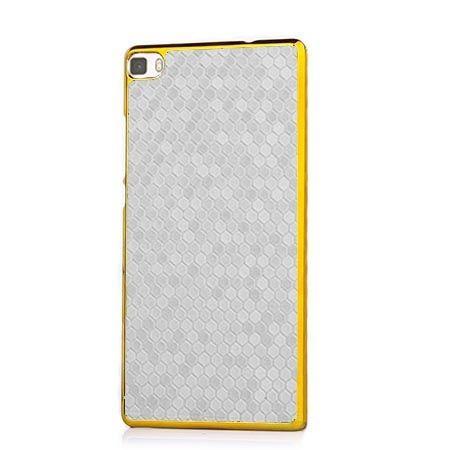 Huawei P8 Lite platynowane plecki Grain - białe. PROMOCJA !!!