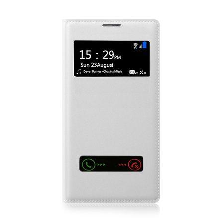 Etui na iPhone 5 - flip dwa okienka z klapką - Biały