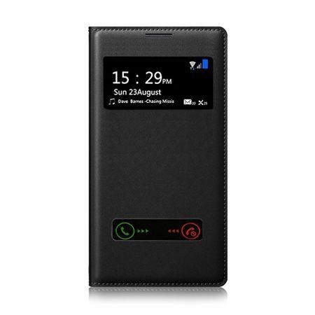 Etui na iPhone 4 - flip dwa okienka z klapką - Czarny