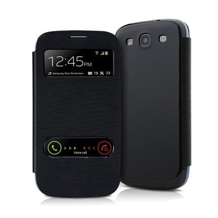 Etui na Samsung Galaxy Ace 3 - flip dwa okienka z klapką - Czarny