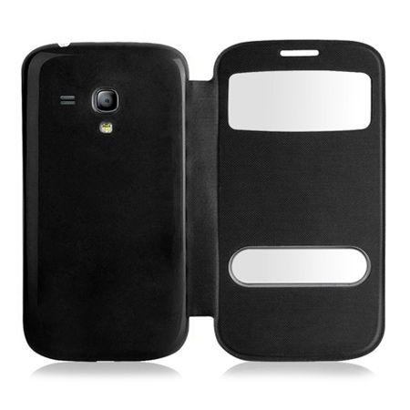 Etui na Samsung Galaxy S3 mini - flip dwa okienka z klapką - Czarny