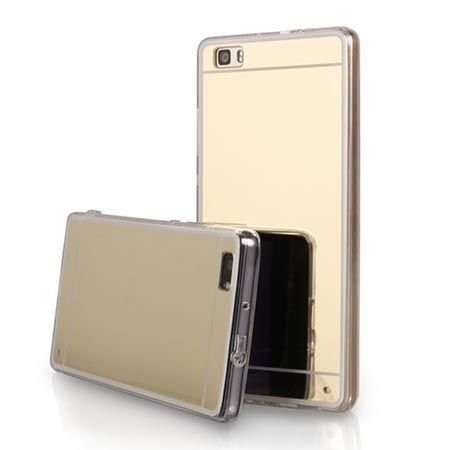 Etui na Huawei P8 mirror - lustro silikonowe lustrzane TPU - złote.