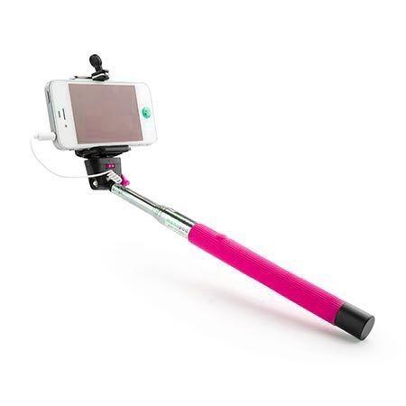 Kijek do Selfie monopod, wysięgnik z kabelkiem - różowy.