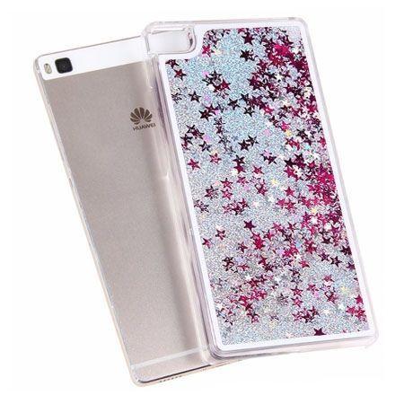 Huawei P8 Lite etui z ruchomym płynem w środku stardust brokat srebrne.