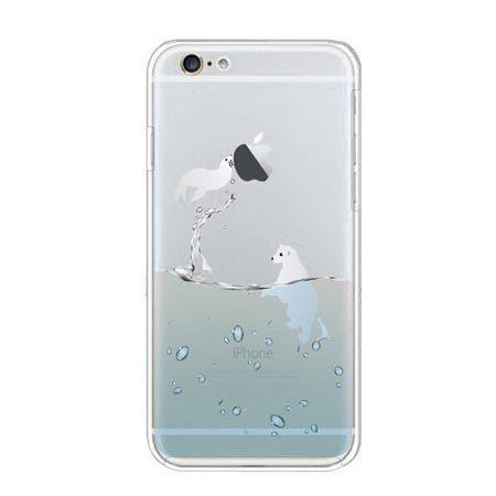 iPhone 6 ultra slim silikonowe przezroczyste etui - foka.