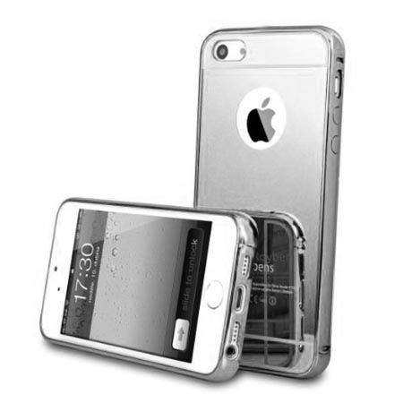 iPhone 5 / 5s etui Mirror aluminium bumper case lustro - Srebrny.