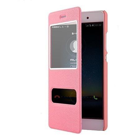 Huawei P8 Lite etui Flip Quick View z klapką dwa okienka - różowe.