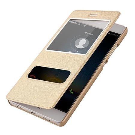 Huawei P8 etui Flip Quick View z klapką dwa okienka - Złote.