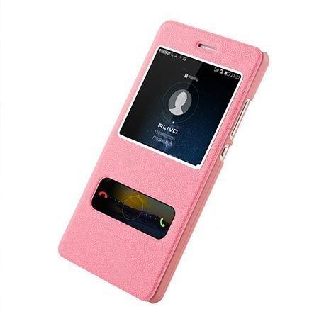 Huawei P8 etui Flip Quick View z klapką dwa okienka - różowe.