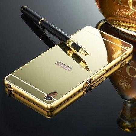 Mirror bumper case na Xperia M4 Aqua - Złoty