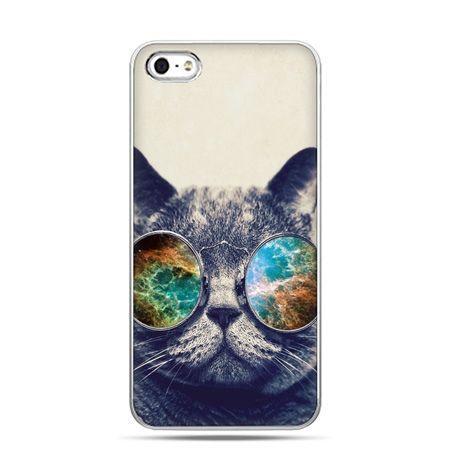 iPhone 5c etui kot w tęczowych okularach