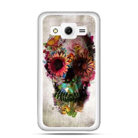Galaxy Core 2 etui czaszka z kwiatami