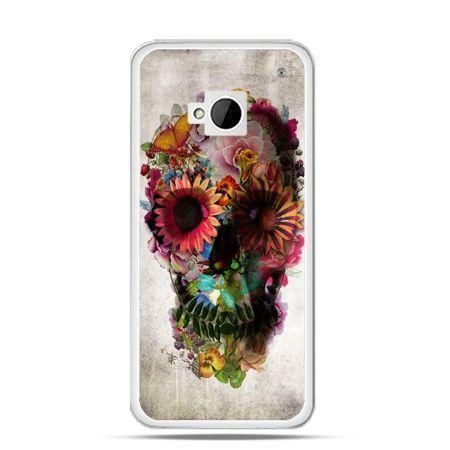 Etui na HTC One M7 czaszka z kwiatami