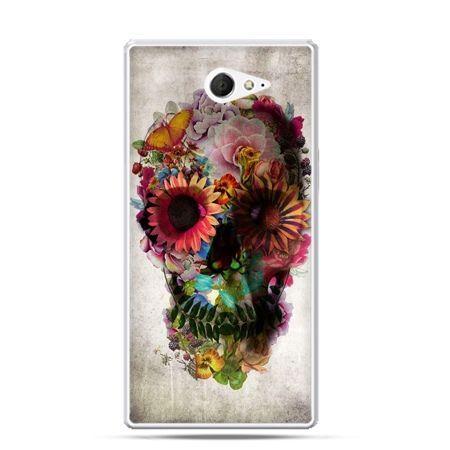 Sony Xperia M2 etui czaszka z kwiatami