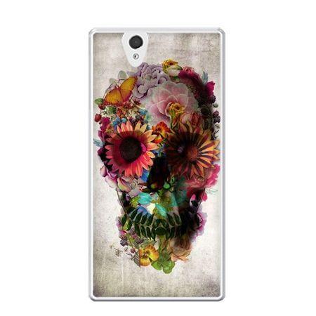 Etui na Xperia Z czaszka z kwiatami