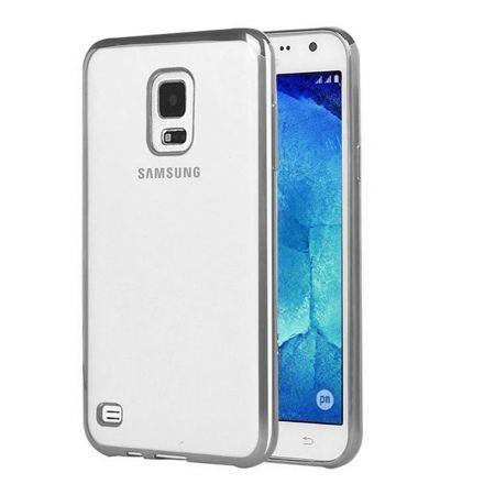 Samsung Galaxy S5 / S5 Neo przezroczyste etui platynowane SLIM srebrne.