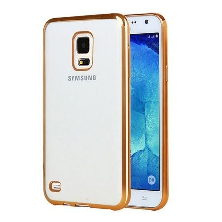 Samsung Galaxy S5 / S5 Neo przezroczyste etui platynowane SLIM złote.