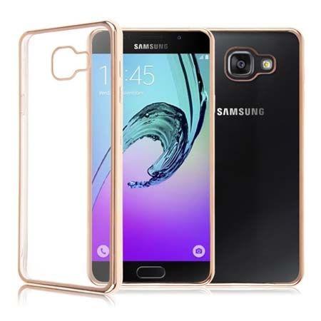Samsung Galaxy A3 2016r  przezroczyste etui platynowane SLIM złote.