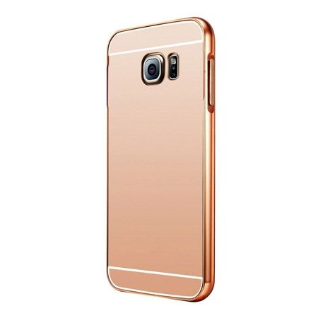 Galaxy S6 etui aluminium bumper case mirror (Rose Gold) - Różowy