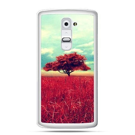 Etui na telefon LG G2 czerwone drzewo